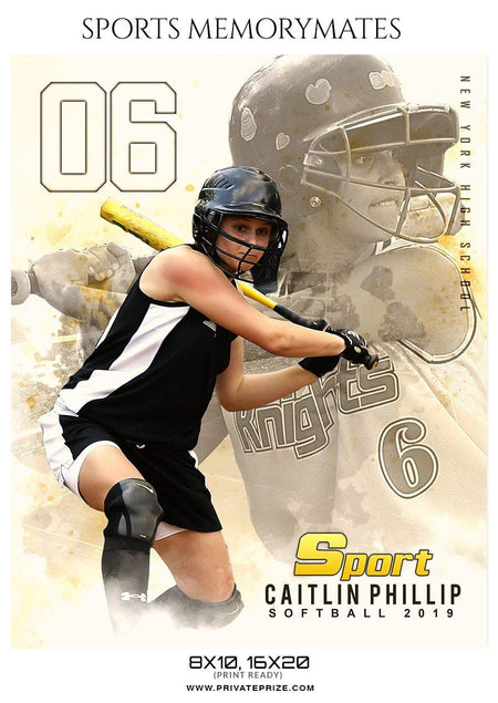 Caltlin Phillip - Softball Sports Memory Mates Photography Template - Photography Photoshop Template