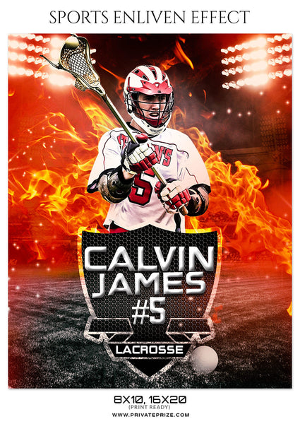 Calvin James - Lacrosse Sports Photoshop Template