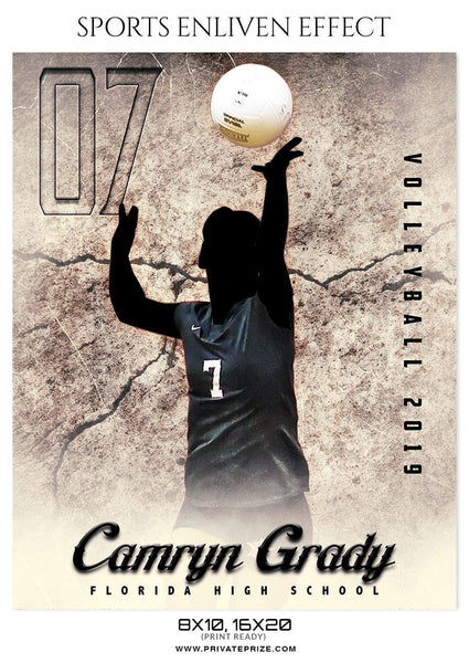 Camryn Grady - Volleyball Sports Enliven Effects Photoshop Template - Photography Photoshop Template