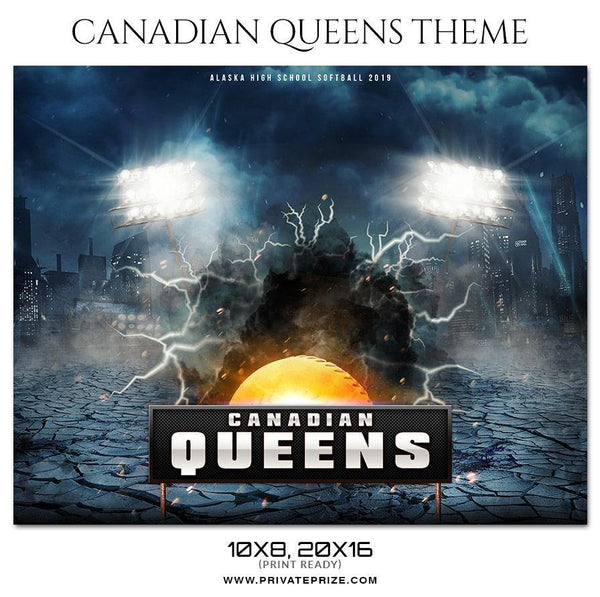 Canadian Queens - Softball Themed Sports Photography Template - Photography Photoshop Template