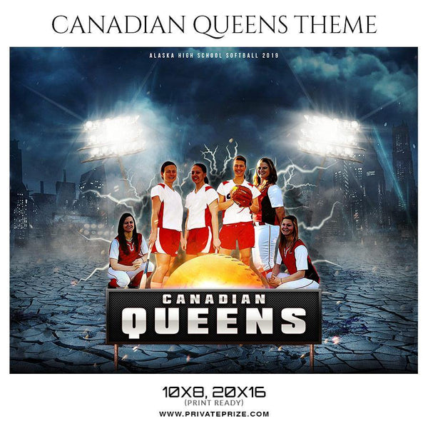 Canadian Queens - Softball Themed Sports Photography Template