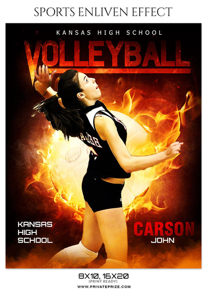 Carson John Volleyball Sports Photoshop Template - Photography Photoshop Template