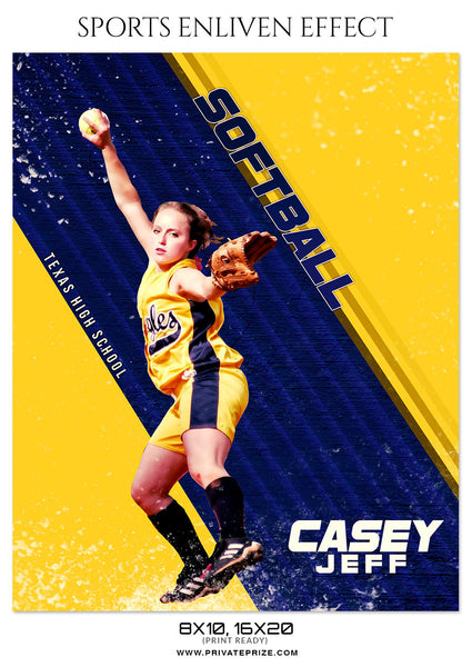 CASEY-JEFF-SOFTBALL- SPORTS ENLIVEN EFFECT - Photography Photoshop Template