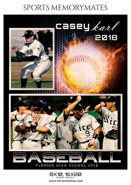 CASEY KARL - BASEBALL SPORTS MEMORY MATE - Photography Photoshop Template