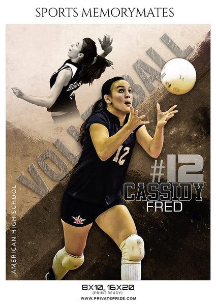 Cassidy Fred Volleyball Memory Mate Photoshop Template - Photography Photoshop Template