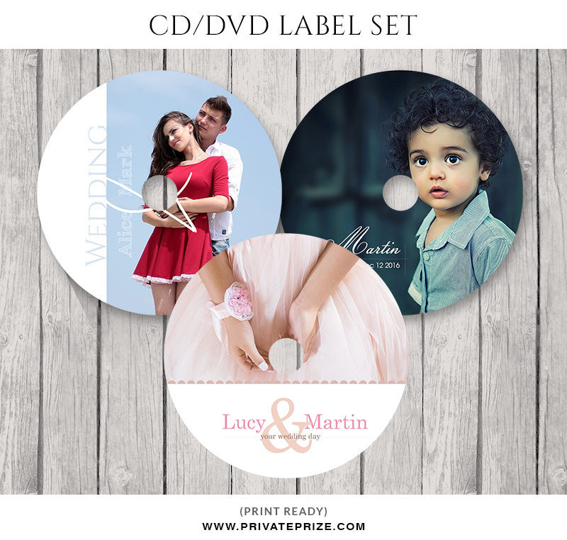 Newborn and Couple in Love CD/DVD Label Set - Photography Photoshop Template