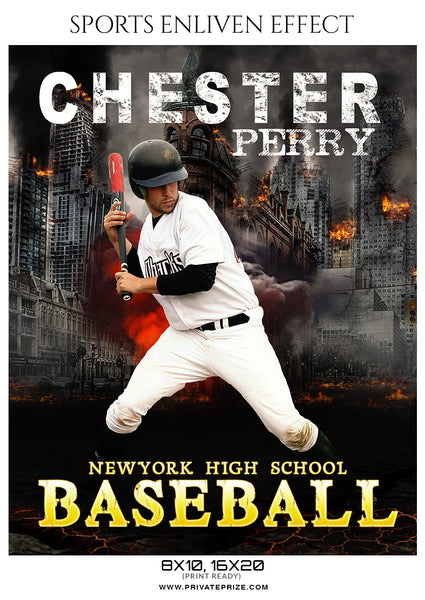 Chester Perry - Baseball Sports Enliven Effects Photoshop Template - Photography Photoshop Template