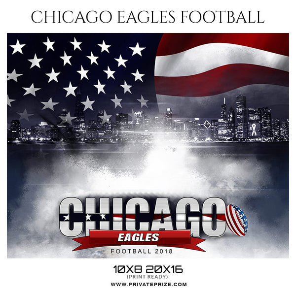 Chicago Eagles Football Themed Sports Photography Template - Photography Photoshop Template