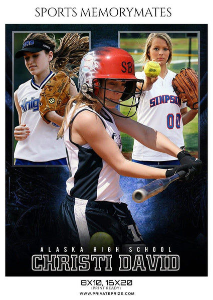 Christi David - Softball Sports Memory Mates Photography Template