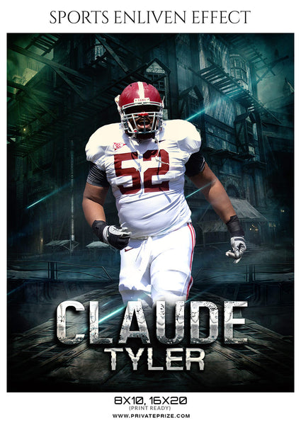 Claude Tyler Football Sports Enliven Effects Photoshop Template - Photography Photoshop Template