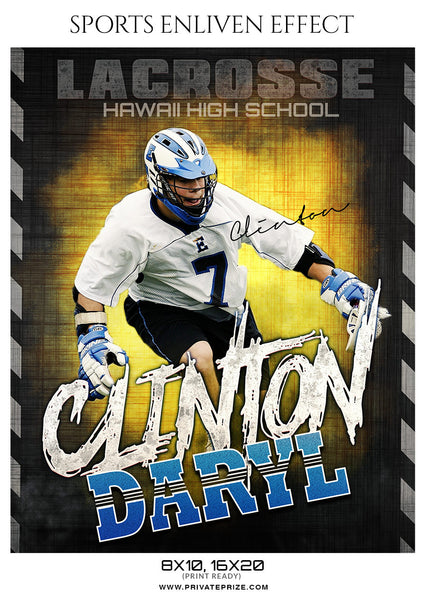 Clinton Daryl Lacrosse Sports Enliven Effects Photoshop Template - Photography Photoshop Template