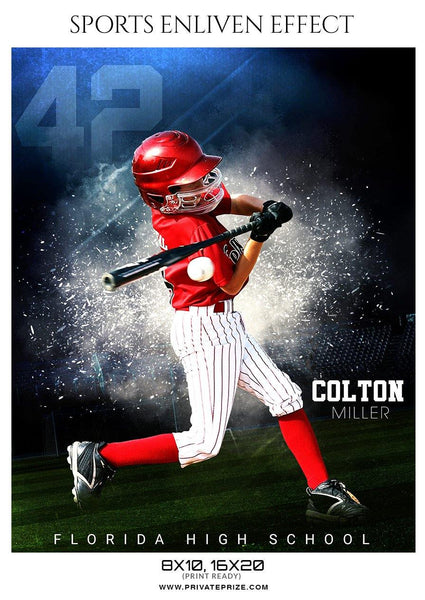 Colton Miller - Baseball Sports  Enliven Effects Photography Template