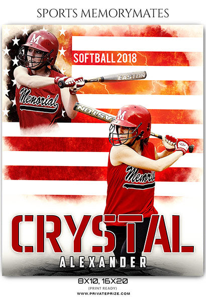 Crystal Alexander - Softball Sports Memory Mates Photography Template - Photography Photoshop Template