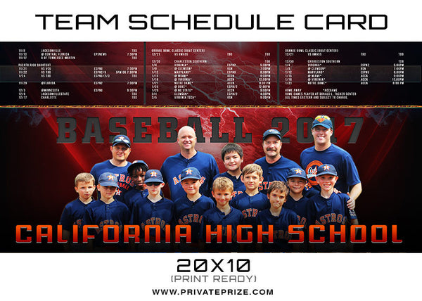 California Team Schedule Card - Photography Photoshop Templates