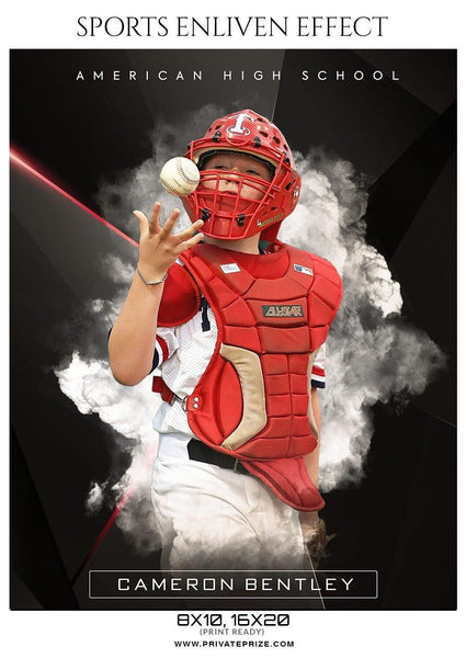 Cameron Bentley - Baseball Sports  Enliven Effects Photography Template