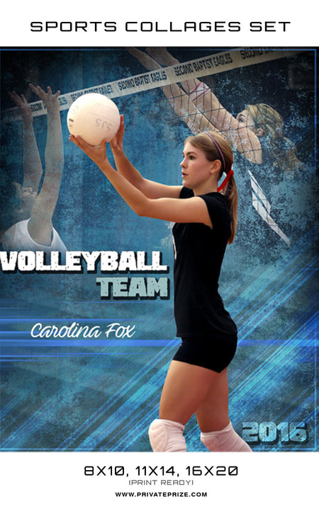 Carolina Volleyball High School Sports Template -  Enliven Effects - Photography Photoshop Template