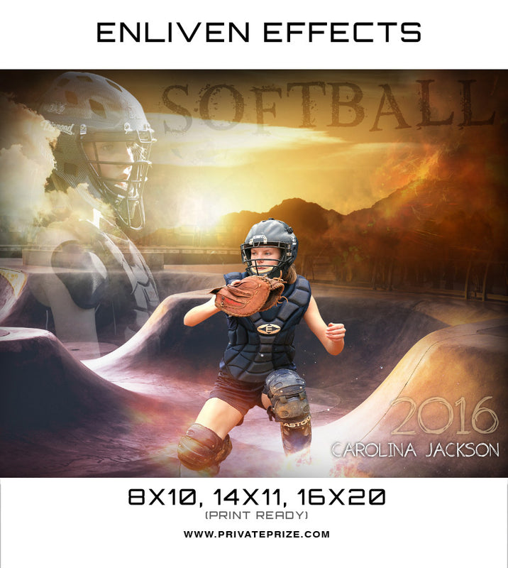 Carolona Jackson Softball Sports Template -  Enliven Effects - Photography Photoshop Template