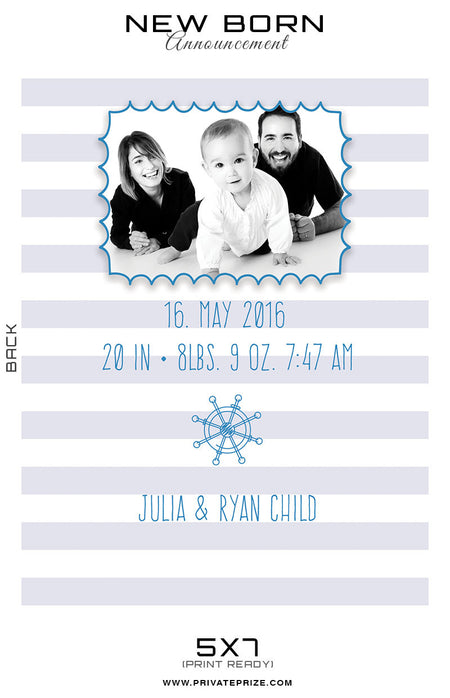 New Born Announcement Card - Photography Photoshop Template