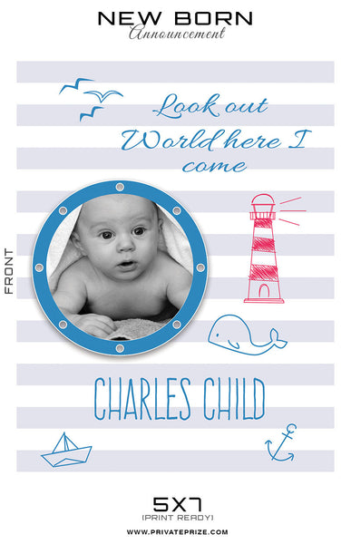 New Born Announcement Card - Photography Photoshop Templates