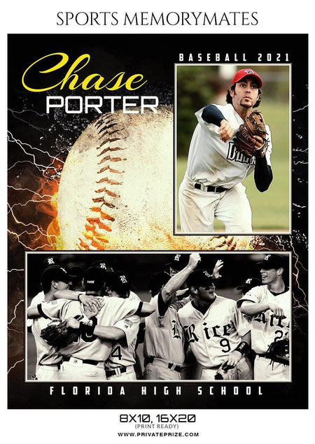 Chase Porter - Baseball Sports Memorymate Photography Template