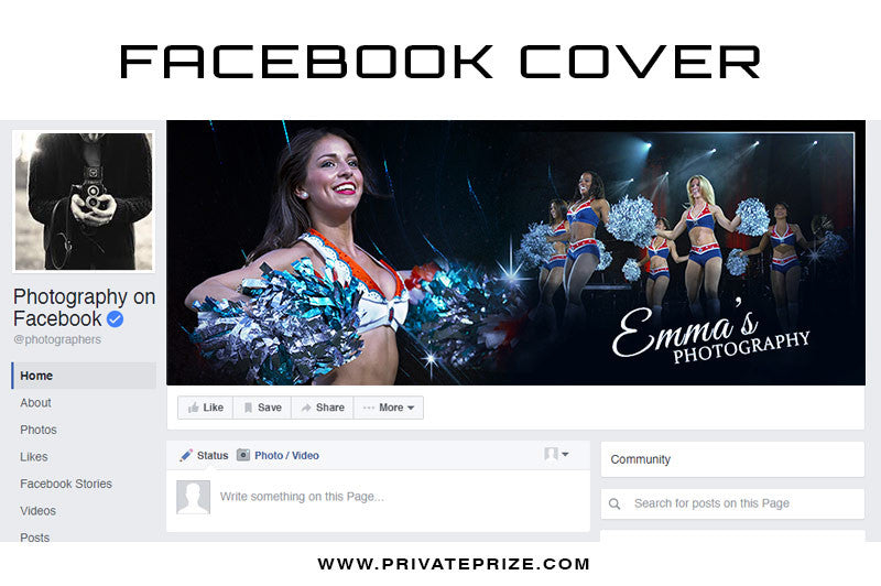 Facebook Timeline Cover Cheerleader Photography - Photography Photoshop Templates