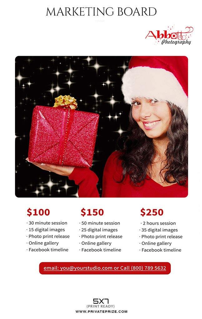 christmas mini session flyer template for photographers