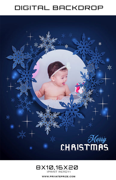 Christmas Baby Blue Frame Back Drop Template - Photography Photoshop Templates