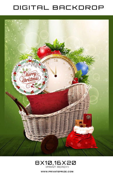 Christmas Baby Clock Digital Background Template - Photography Photoshop Templates