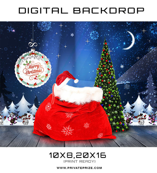Christmas Baby Digital Background Template - Photography Photoshop Templates