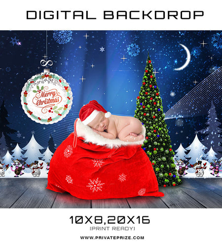 Christmas Baby Digital Background Template - Photography Photoshop Template