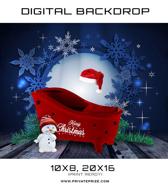 Christmas Baby Digital Backdrop Tub - Photography Photoshop Template