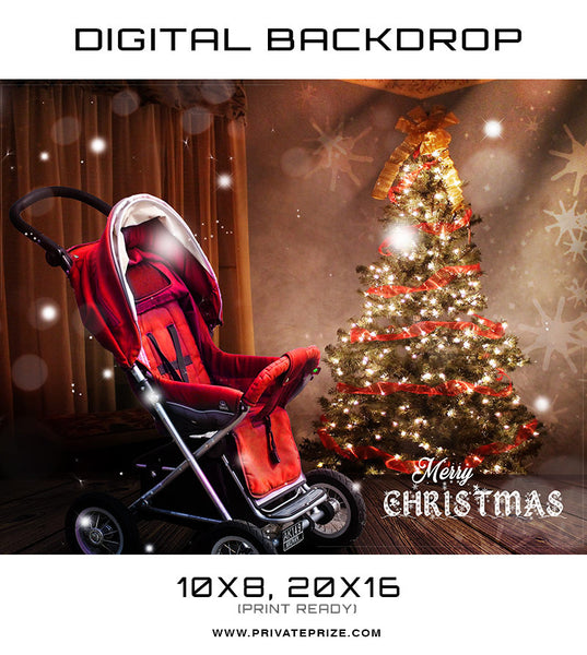 Christmas Baby Stroller Back Drop Template - Photography Photoshop Template