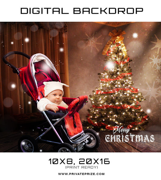 Christmas Baby Stroller Back Drop Template - Photography Photoshop Templates
