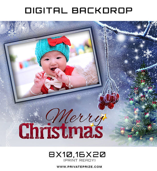 Christmas Blue Digital Backdrop Frame Photographer Template - Photography Photoshop Templates