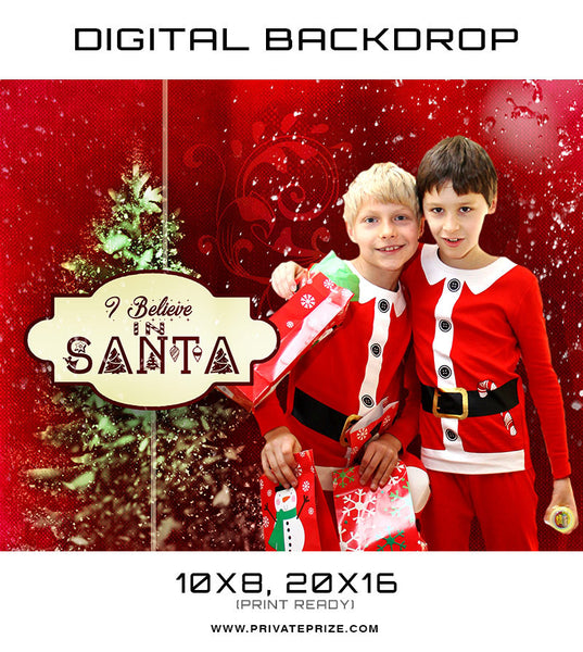 Christmas Digital Backdrop - I believe in Santa Photographer Template - Photography Photoshop Templates