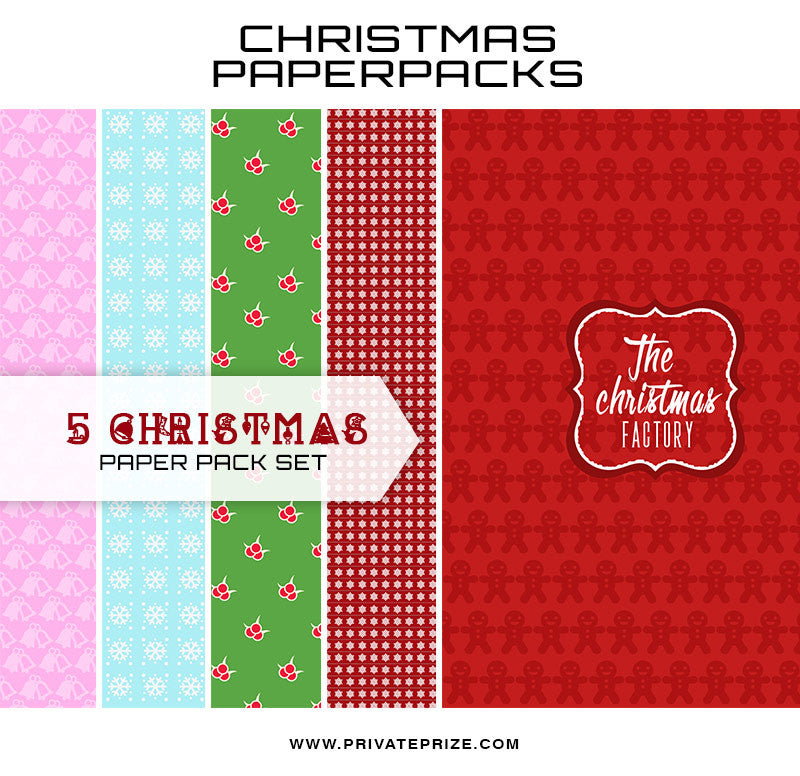 Christmas Digital Paper Pack - The Christmas Factory Set 2 - Photography Photoshop Templates