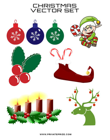 Christmas Vector Set of 6 - Photography Photoshop Templates