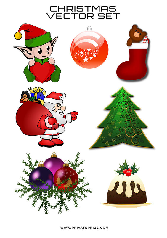 Christmas Vector Set of 7 - Photography Photoshop Templates
