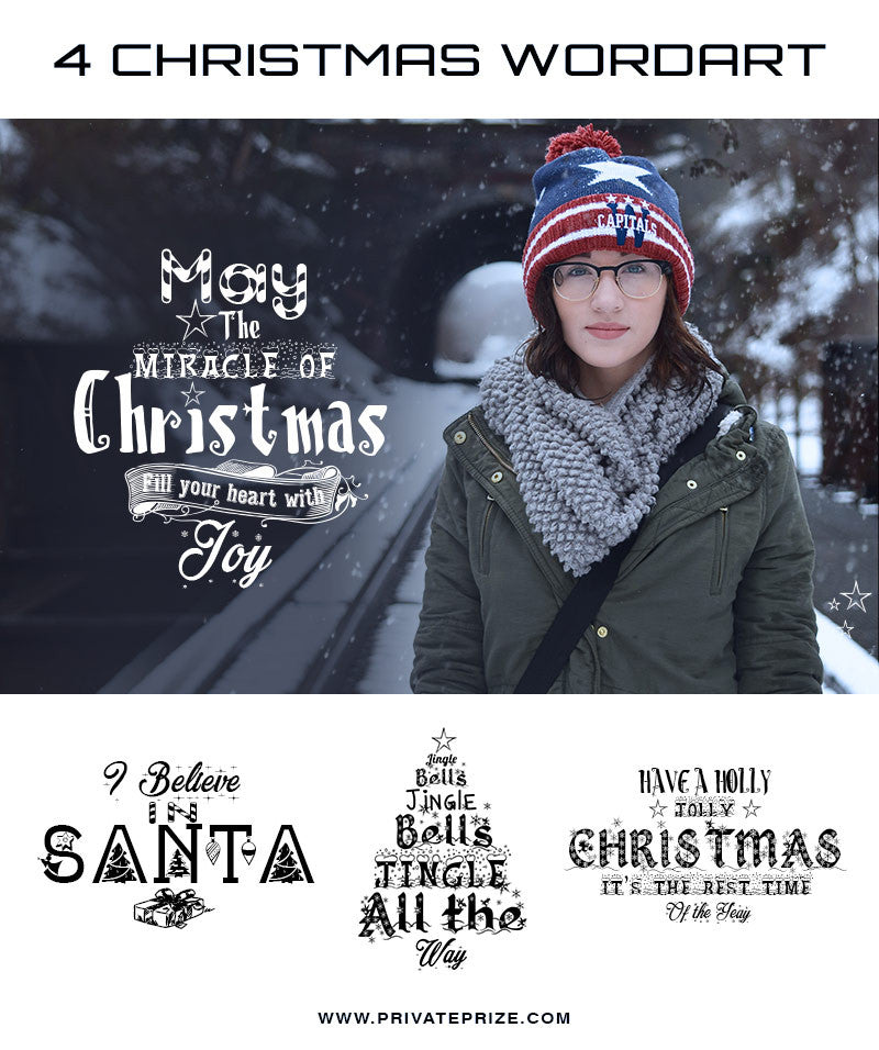 Christmas Wordart Miracle of Christmas - Photography Photoshop Templates