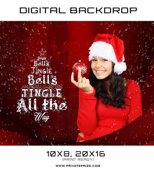 Jingle Bell - Christmas Digital Back Drop - Photography Photoshop Template
