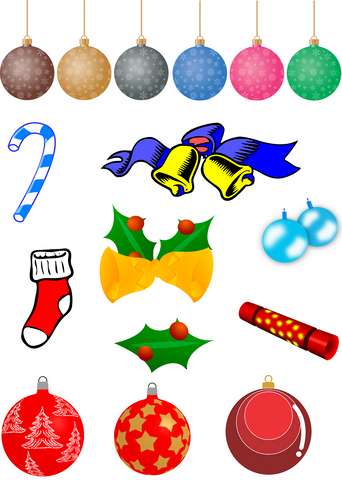 Christmas Ornaments Vector Graphics Set - Photography Photoshop Templates