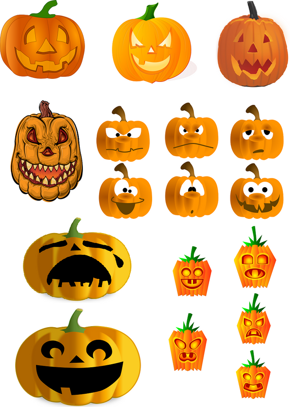 Halloween Pumpkins Vector Graphics Set - Photography Photoshop Templates