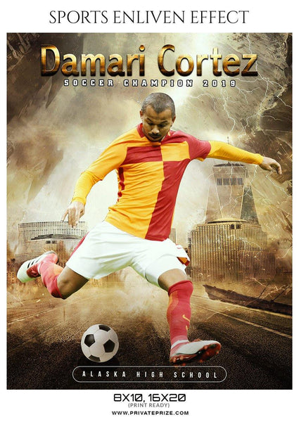 Damari Cortez - Soccer Sports Enliven Effects Photography Template - Photography Photoshop Template