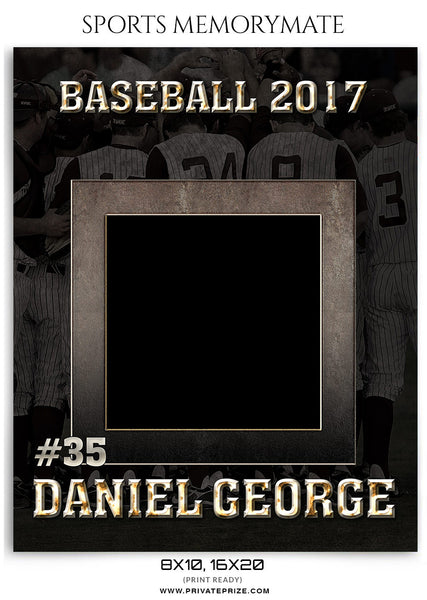 Daniel George Baseball- Sports Memory Mate Photoshop Template - Photography Photoshop Template
