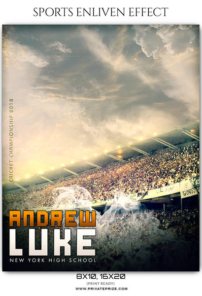 Daniel Luke - Cricket Sports Enliven Effects Photoshop Template - Photography Photoshop Template