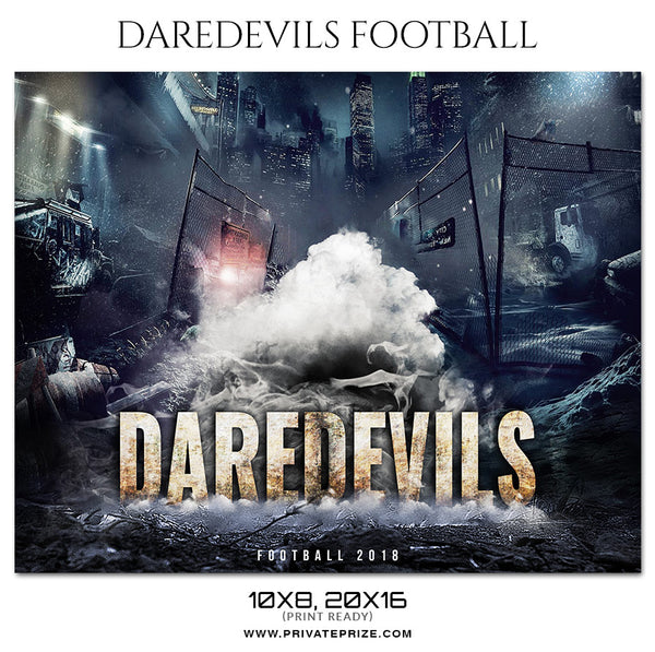 Daredevils - Football Themed Sports Photography Template - Photography Photoshop Template