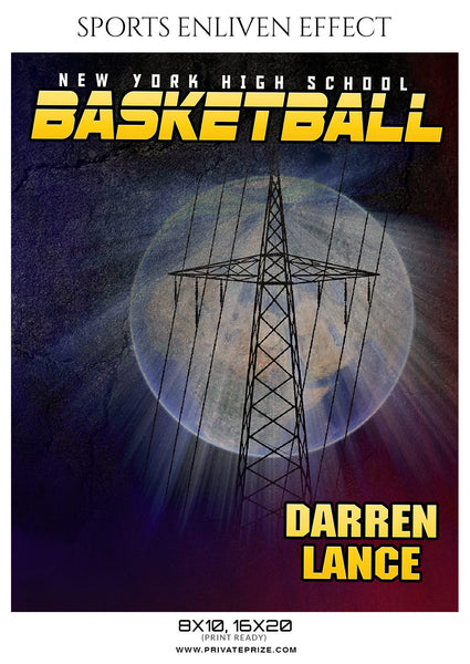 Darren Lance Basketball Sports Enliven Effects Photoshop Template - Photography Photoshop Template
