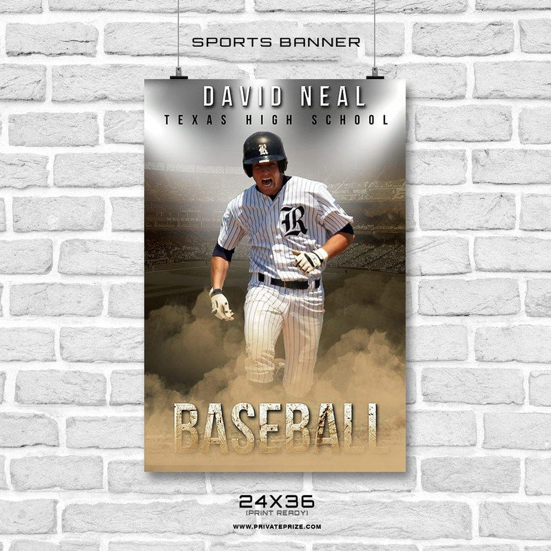 Davis Neal - Baseball Enliven Effects Sports Banner Photoshop Template - Photography Photoshop Template