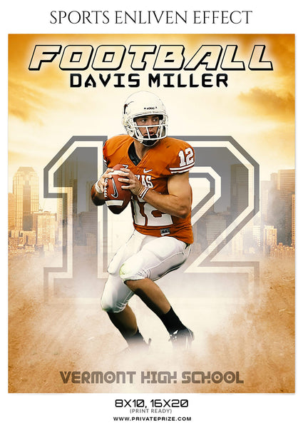 Davis Miller - Football Sports Enliven Effects Photography Template - Photography Photoshop Template