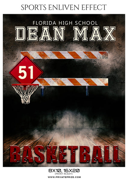 Dean Max - Basketball Sports Enliven Effects Photoshop Template - Photography Photoshop Template